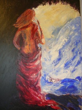 palette-knife-painting-woman-in-cave-looking-at-waterfall